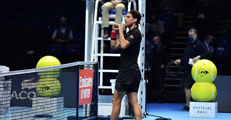 Austria's Dominic Thiem reacts after his victory over Serbia's Novak Djokovic in their men's singles semi-final match on day seven of the ATP World Tour Finals tennis tournament at the O2 Arena in London  Image credit: Getty Images