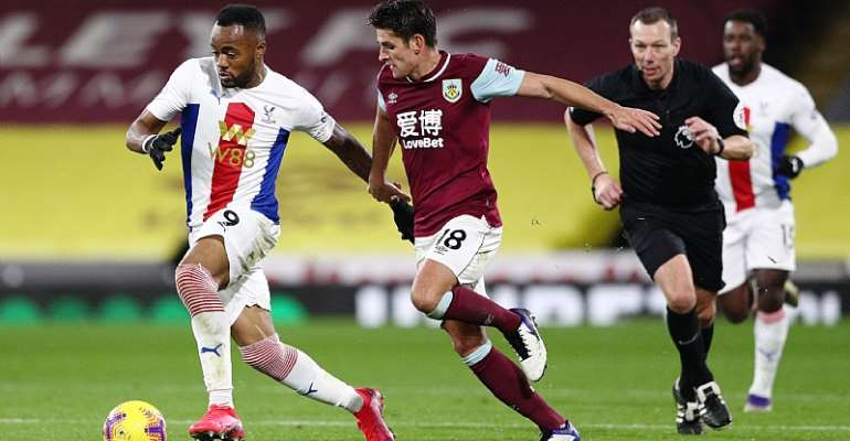 Jordan Ayew in action against Burnley on Monday evening