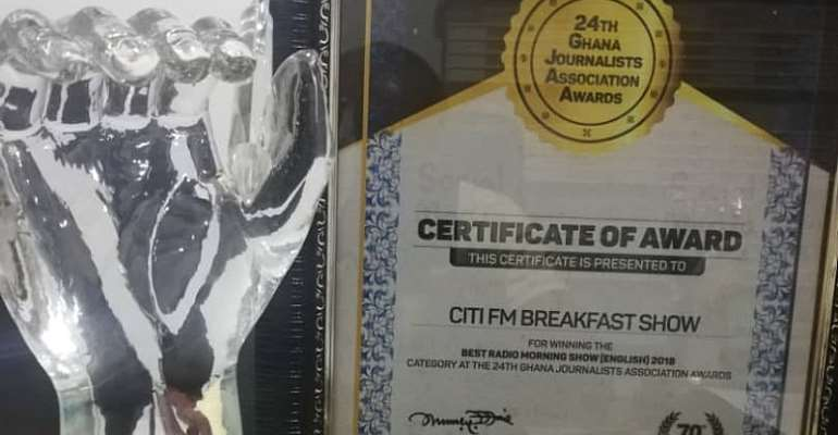 Citi Breakfast Show named best English morning show in Ghana at GJA Awards