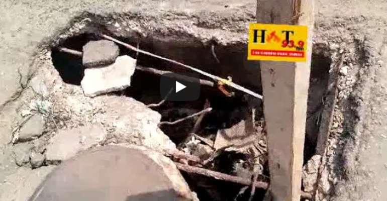 VIDEO: The Pothole Identified As A Death Trap On The Asafoatse Street