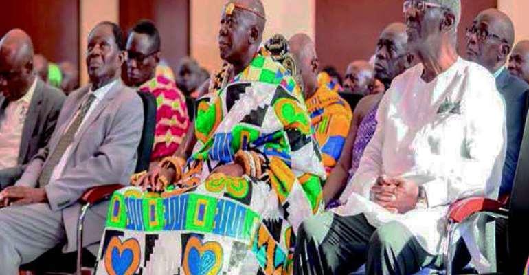 Otumfuo Osei Tutu II with ex-President Kufuor at the UPSA Lecture