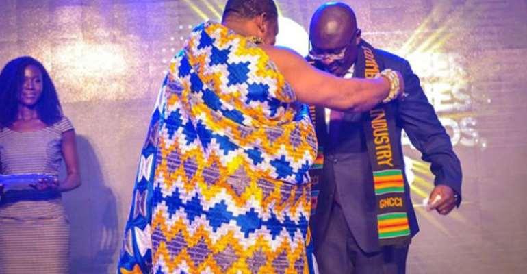 Dr. Bawumia being decorated by Nana Appiagyei Dankawoso I
