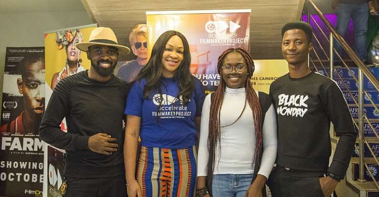 L-R: Final 5 2019 Accelerate filmmaker project- Tosin Ibitoye; Head of Accelerate TV - Colette Otusheso; Final 5 2019 Accelerate filmmaker project- Miriam Dera; and Final 5 2019 - Accelerate filmmaker project Adetola Adetayo