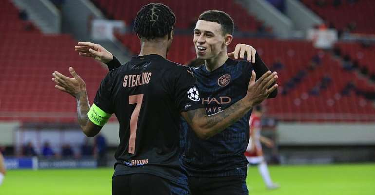 Phil Foden of Manchester City celebrates his goal with Raheem Sterling of Manchester City  Image credit: Getty Images