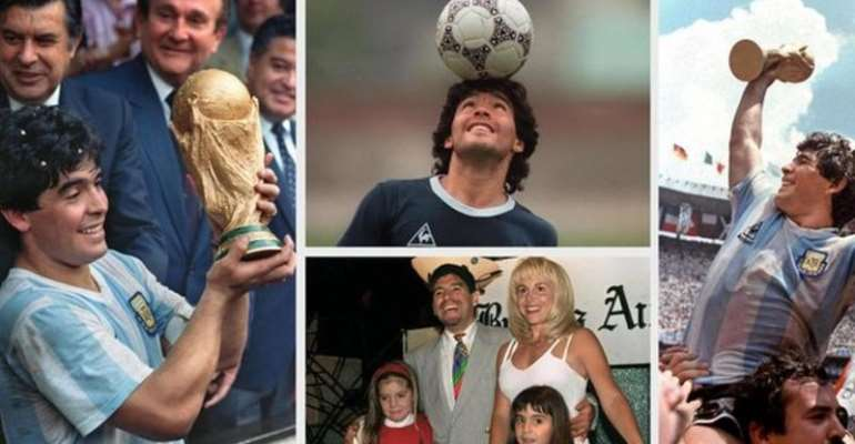 Diego Maradona - displaying the World Cup in 1986, during a training session, and with his ex-wife Claudia and their daughters Dalma and Gianina