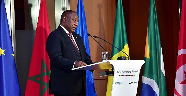 South African president Cyril Ramaphosa addressing the G20 recently.  - Source: GCIS