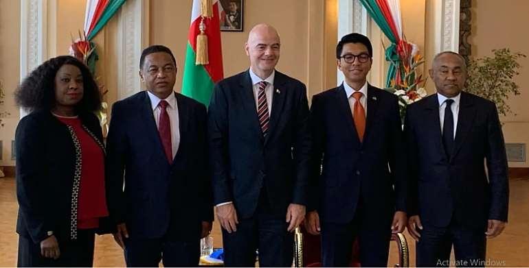 FIFA And CAF Presidents Meet President Of Madagascar Andry Rajoelina