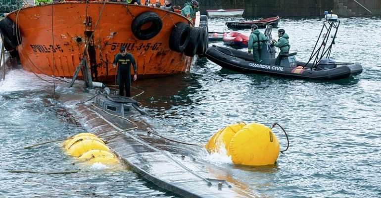 Submarine seized in Spanish waters carrying three tonnes of cocaine