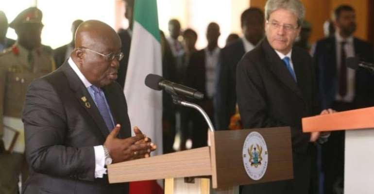 President Nana Addo Dankwa Akufo-Addo (left) withPaolo Gentiloni