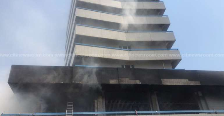 UPDATE: Fire Service Respond To Fire At GCB Bank Makola