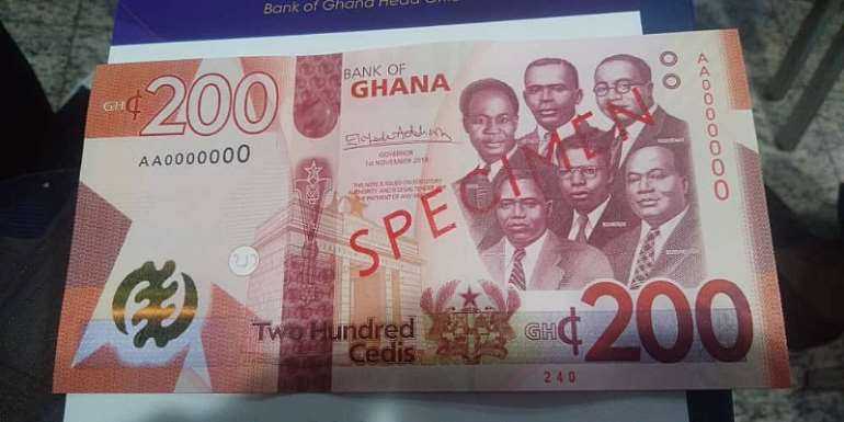 The new GH¢ 100 banknote being introduced