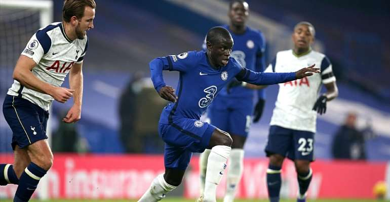 N'Golo Kante of Chelsea during the Premier League match between Chelsea and Tottenham Hotspur at Stamford Bridge on November 29, 2020 in London, United Kingdom