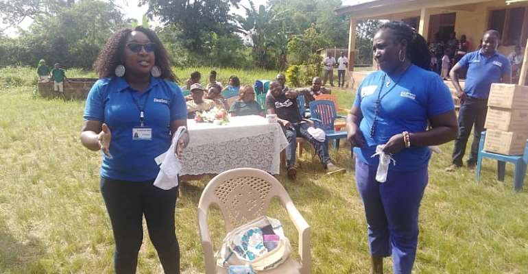 Officials From Plan Ghana And Fay International Educating The School Children On Menstrual Hygiene Management