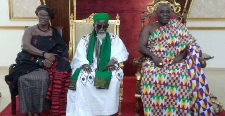 The chief Imam in a pose with the Okyenhene and the Okyenehemaa