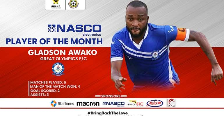 Great Olympics captain Gladson Awako wins NASCO player of the month