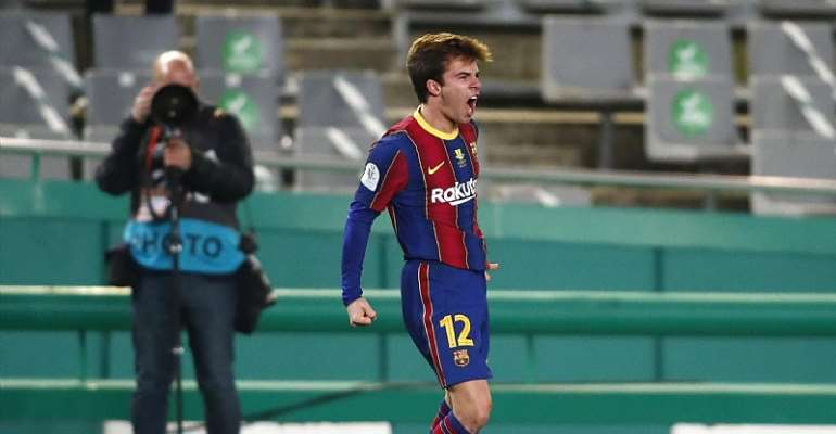Ricard Puig of Barcelona celebrates after scoring the fifth and wining penalty in the shootout during the Supercopa de Espana Semi Final match between Real Sociedad and FC Barcelona at Estadio Nuevo ArcangelImage credit: Getty Images