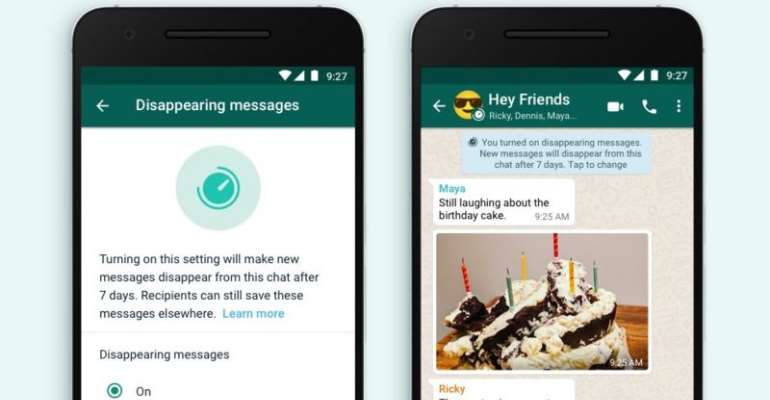 WhatsApp lets messages vanish after seven days