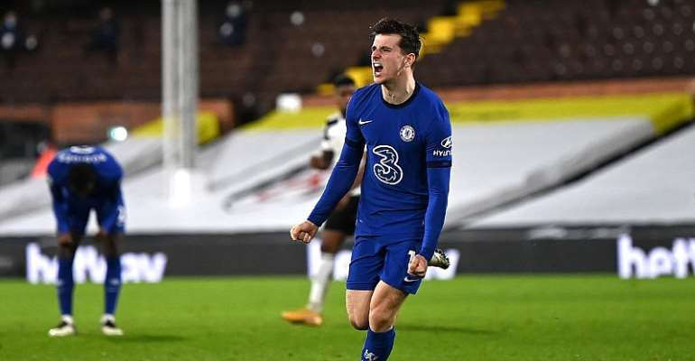 Mason Mount of Chelsea celebrates after scoring their side's first goal during the Premier League match between Fulham and Chelsea at Craven Cottage  Image credit: Getty Images