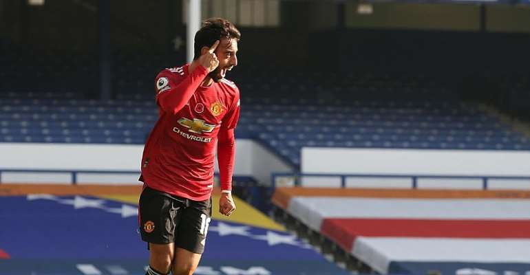 BRUNO FERNANDES OF MANCHESTER UNITED CELEBRATES SCORING THEIR FIRST GOAL DURING THE PREMIER LEAGUE MATCH BETWEEN EVERTON AND MANCHESTER UNITED AT GOODISON PARK  IMAGE CREDIT: GETTY IMAGES