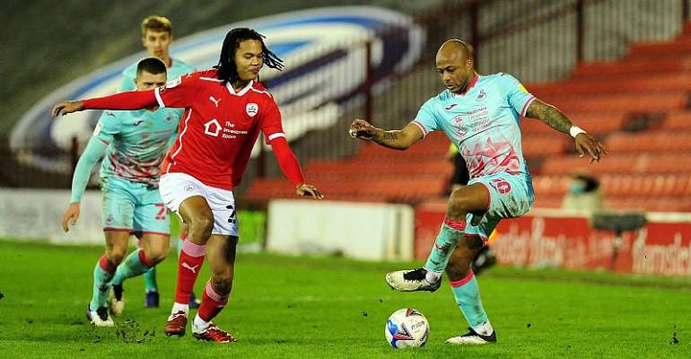 Andre Ayew in action for Swansea City against Barnsley. Photo Credit/Swansea City