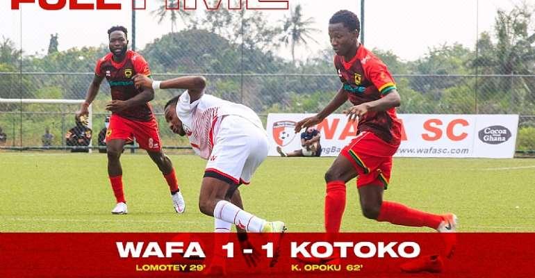 GHPL: Striker Kwame Opoku nets sixth goal of the season to help Kotoko draw 1-1 against WAFA