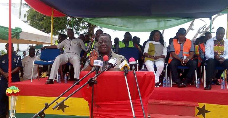 Minister for Roads, Amoako Atta addressing chiefs and people of Axim