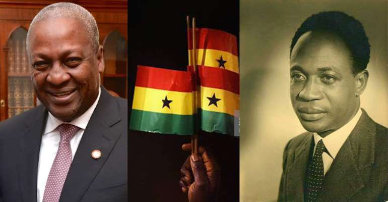 Ex-Ghanaian leader, John Mahama and Dr. Kwame Nkrumah