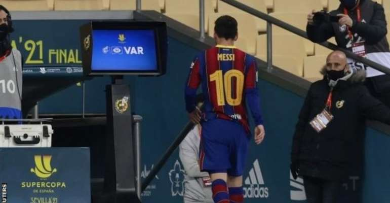 Lionel Messi's only previous red cards had been for Argentina