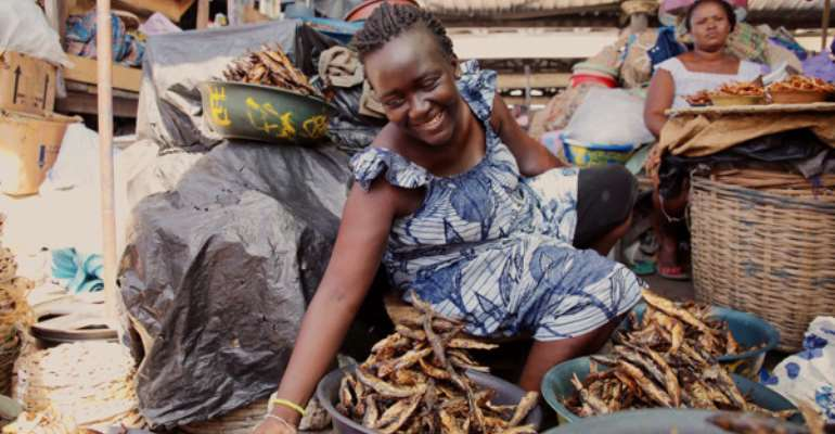 Salt cured fish is sold at the Grand Marché in Lome, Togo. Image: Melissa Cooperman