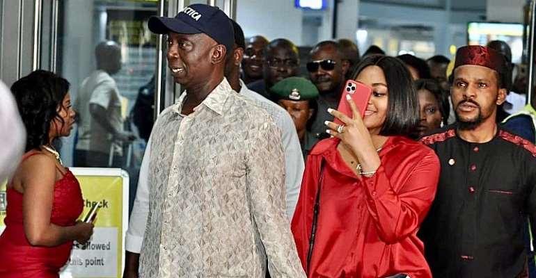 Antarctica Expedition: Nigerians Storm Abuja International Airport Towelcome Ned Nwoko, Regina Daniels Back To Nigeria