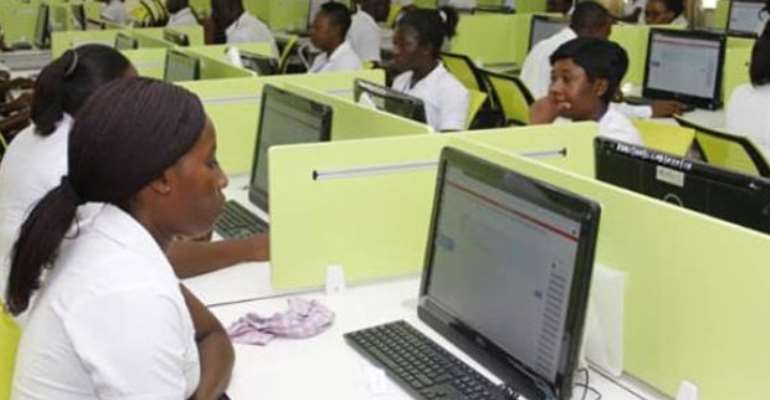 Students taking the online exams