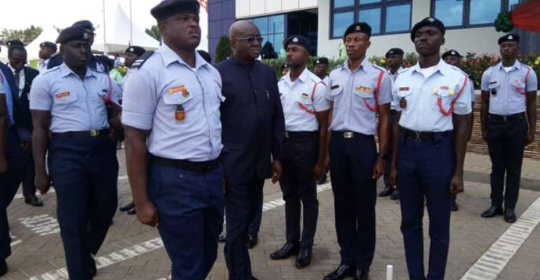 The Aviation Minister inspecting a guard of honour at the parade