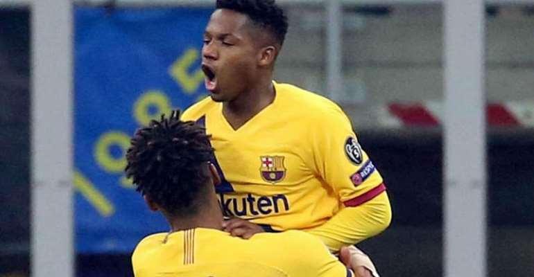 Ansu Fati Breaks Peter Ofori-Quaye's 22 Years Champions League Goalscoring Record