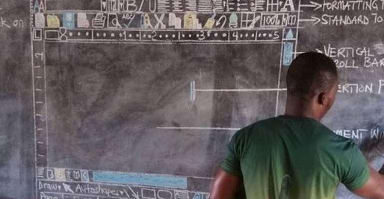 My deepest respect to the Ghanaian teacher, Richard Appiah Akoto, who drew a computer on a blackboard, photo credit: Ghana media