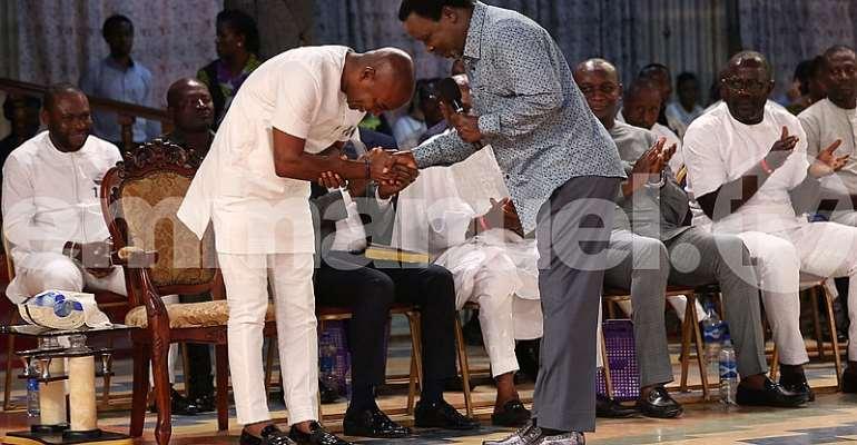 T.B. Joshua's Message To David Lyon, Bayelsa's Governor Elect, As He Worships At The Scoan