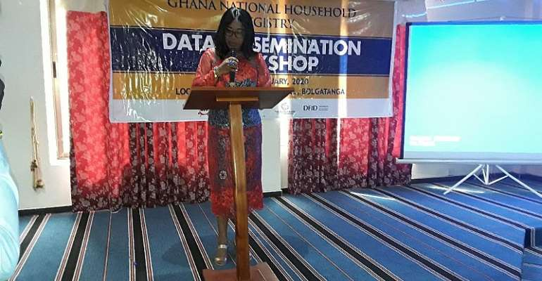 The Minister  of Gender , Children and Social Protection (MoGCSP), Madam Cynthia Namle Morrison  delivering her speech during Dissemination Workshop of GNHR in Bolgatanga