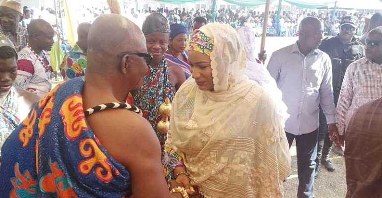 Second Lady Samira Bawumia exchanging greetings with one of the chiefs during the tour
