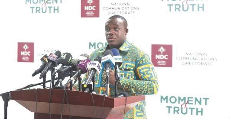 Mr Samuel Nartey George, speaking at the NDC 'Moment of Truth' series