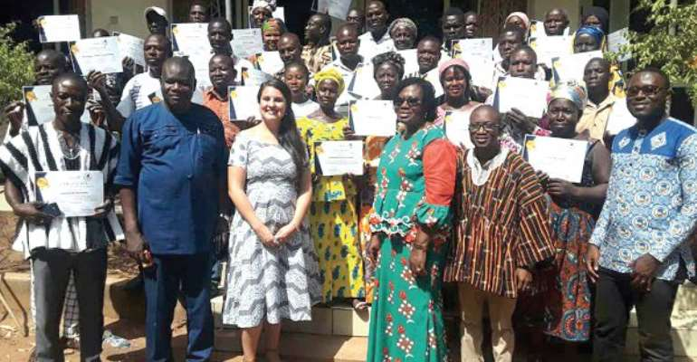 Madam Janet Mohammed (4th right), the Board chair of Send Ghana, Ms Alacia Sosa (3rd left) Mr Yaquob (2nd left), MCE for Nanumba North and the peace animators.