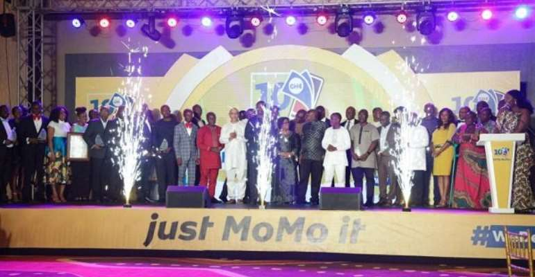 The awardees and MTN officials at the ceremony