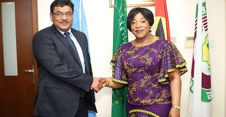 Shirley Ayorkor Botchwey (left) and outgoing Indian envoy