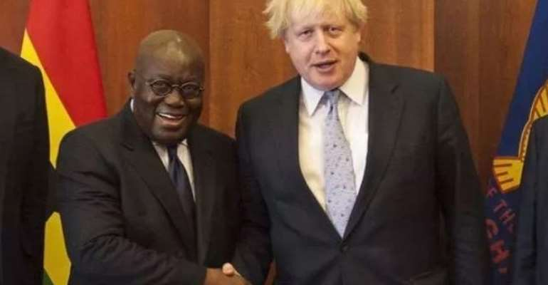 President Nana Akufo-Addo (left) with UK Prime Minister, Boris Johnson