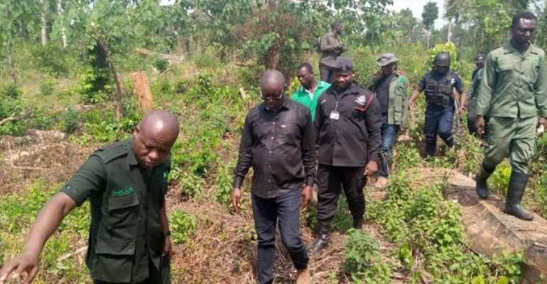 Minister for Lands and Natural Resources, Kwaku Asomah-Cheremeh and Forestry Commission officials