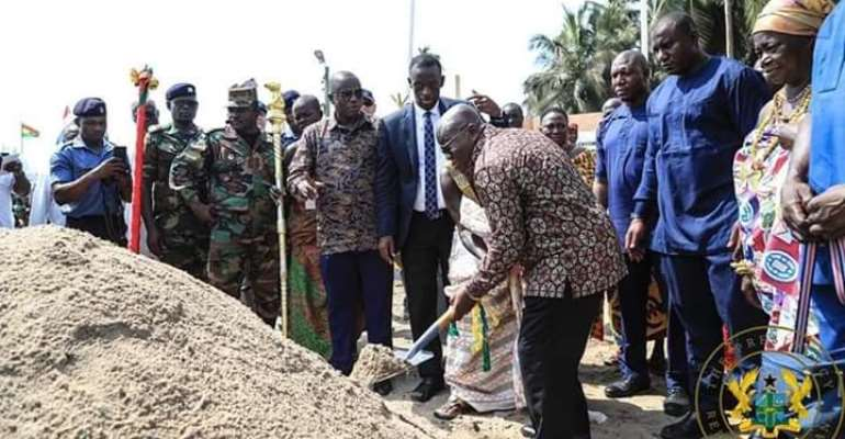 President Akufo-Addo cutting sod for commencement of the project
