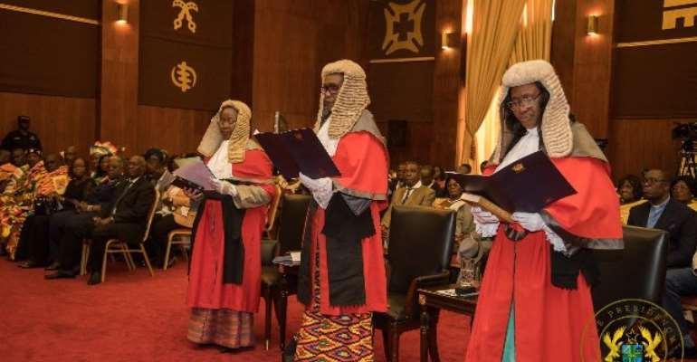 L-R: Justices Gertrude Torkornoo, Avril Lovelace-Johnson and Mariama Owusu.