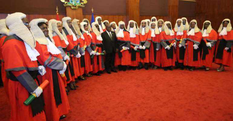Some of the Superior Court Judges with the President after the swearing in. Picture by Gifty Ama Lawson.