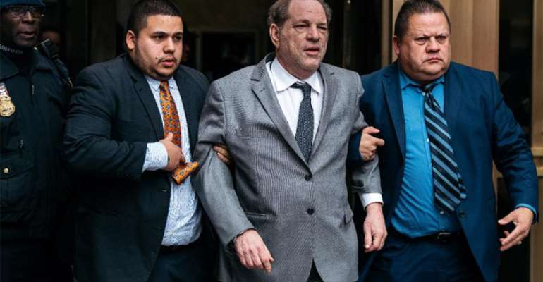 Harvey Weinstein leaving New York City Criminal Court after bail hearing on December 6