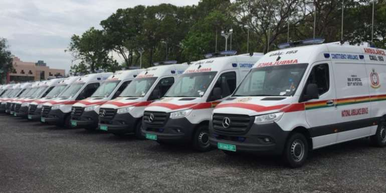 Parked Ambulances at State House