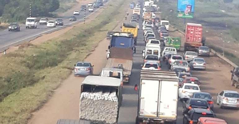 Accra-Tema Motorway Choked With Heavy Traffic