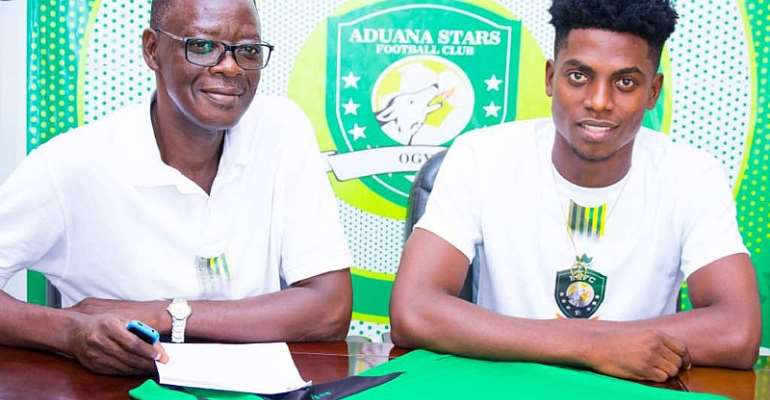 Aduana Stars Unveil Caleb Amankwah After Penning Three-Year Deal